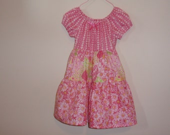 Pink Tiered and Twirly Peasant Dress