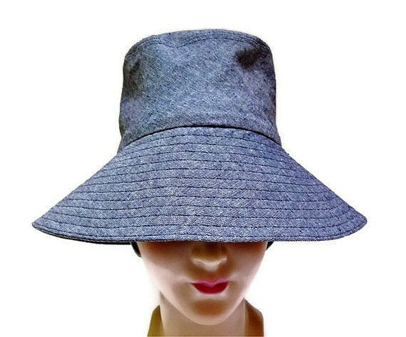 Retro Sun Hat in Blue Cotton/Linen