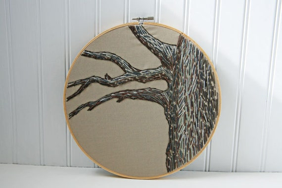 Embroidered Tree Hoop, Wall Decor, Woodland, Embroidery, Brown, Grey, Beige, 10 Inch, Home Decor, Wall Art, Tree Branch, Wall Hanging, OOAK