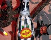 Hand Painted Original Design GHOULISH GHOST Halloween Gourd Ornament-Gothic-Banana Gourd-Gourd Art-Ghoulish-Halloween decor-Home Decor-