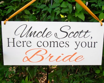 Here comes the Bride - here comes your bride - Here comes the Bride sign - wedding sign - custom wedding sign - wedding signage - wood sign