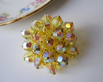 Vintage Aurora Borealis Crystal Yellow Brooch Glamour and Bling