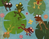 Six Frogs A Leaping Print 8.5 x 11