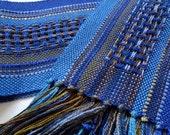 handwoven beautiful blues symphony scarf