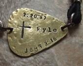 Guitar Pick Bracelet - Gift for Musician, Confirmation, First Communion, Baptism - Personalized Guitar Pick Bracelet - Scripture Cross Bible