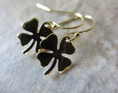 Four Leaf Clover Earrings, Gold, Bronze, Shamrock, Good Luck, Taliman, St. Patricks Day, Small, Irisjewelrydesign