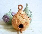 Ceramic Birdhouse Birds and Bees Design Handcrafted Bird House Mother's Day Gift Orange Rust Garden Art Gardening Decor Mother's Day