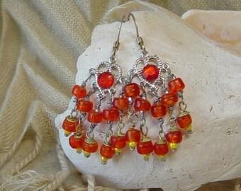 Orange Bead Earringsm Silver Chandelier Earrings, Boho, Orange Earrings, Hippie, Chandelier Earrings, Dangle, Orange Glass Bead Earrings