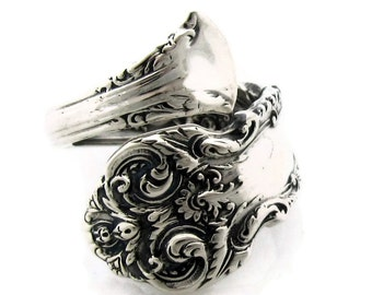 French Renaissance Sterling Silver Size 5 - 8 Demitasse Spoon Ring