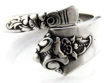 Sterling Silver Spoon Ring Size 3 to 8 Demitasse Castle Rose
