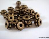 25 Antique Bronze Spacer Beads Tibetan Silver 7x4.5mm LF/CF/NF - 25 pc - M7048-AB25