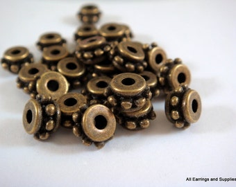25 Antique Bronze Spacer Donut Beads Tibetan Silver 7x4.5mm LF/CF/NF - 25 pc - M7048-AB25