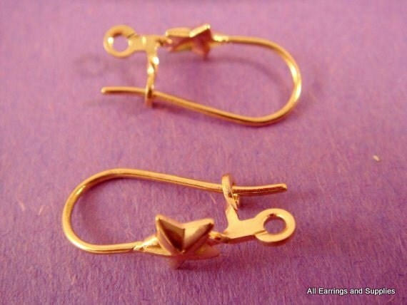 10 Star Kidney Earwires Gold Plated w Loop - 10 pc - 2507-4