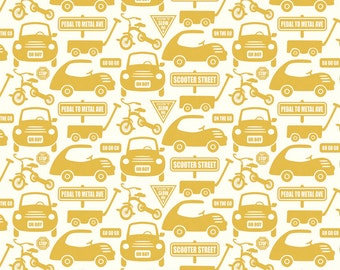 Riley Blake Cruiser Cars Yellow Flannel Fabric, 1 yard