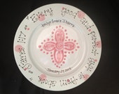 Personalized Baptism Plate - Hand Painted Baby Plate with Cross - Great Baptism Gift