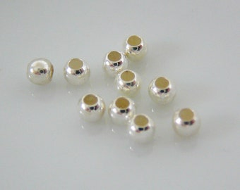 20 Sterling Silver Bead, 3mm Round Seamless