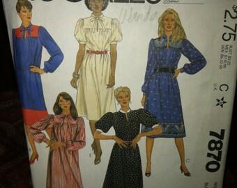 McCalls Vintage Sewing Pattern 7870