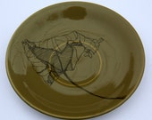 SALE Brown 'Leaf' Upcycled Plate