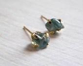 Natural Blue Zircon Earrings, Raw Gemstone Earrings, Gold Post Earrings - Galit