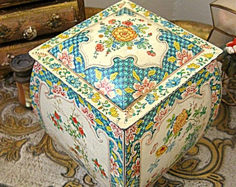 Daher Tin Litho Metal Candy Box Shabby Cottage Style Made in Holland
