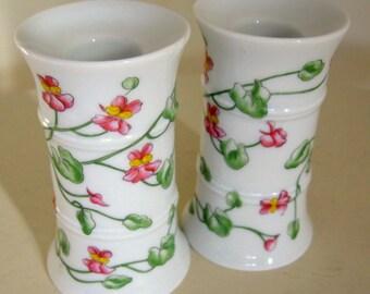 Vintage Rauschert German Porcelain Floral Ivy Covered Candelabra Candle Holder Pair