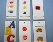 Novelty School Buttons - ABC - Stop - Pencils -Bus -Arrows - chalkboard - Price Per Card
