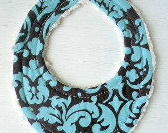 THE ORIGINAL Little Drooler Bibs - Perfect for Teething Baby or Baby that Spits Up - Aqua Spa Damask - OR Design Your Own - 64 Fabrics