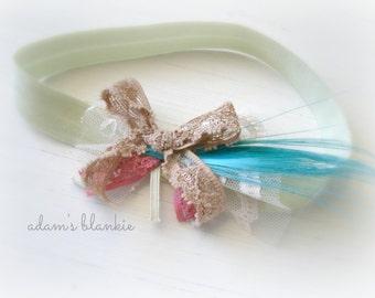 Mojito - Light Green Beige Pink Aqua Headband - Lace Feathers Ruffles - Newborn Infant Baby Girl Toddler Adult