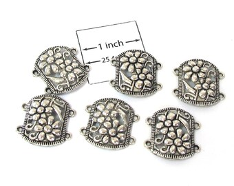 Antiqued Silver Metal 4-loops 20mm x 15mm Connectors Sold per 6 pc, 1089-04