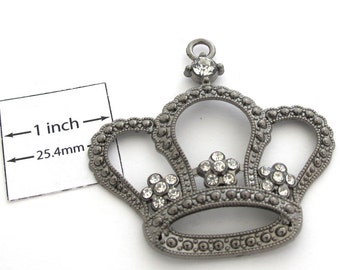 Gunmetal 55mm x 55mm Crown Pendant with Crystals, 1090-19