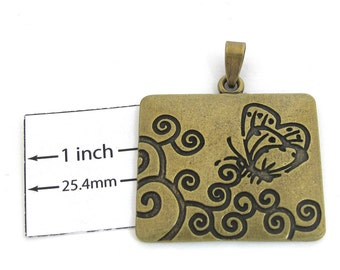 Antiqued Brass Metal, Stamped Butterfly Design, 36mm x 30mm Rectangular Pendant, 1091-16