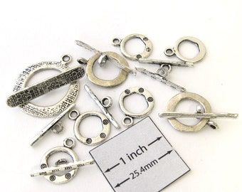 Antiqued Silver Metal Assorted Toggle Clasps, Set of 8 pc, 1075-38