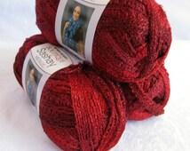 Boutique Sashay Metallic yarn RUBIES,   Red Heart ruby red yarn, bright red ruffling scarf yarn