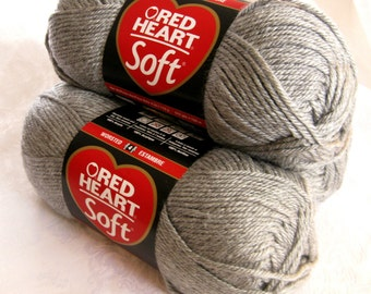 Red Heart Soft yarn, LIGHT GRAY Heather,  medium worsted weight