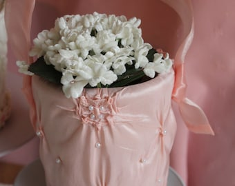 Pink delicate flower girl basket from our Aurelia line