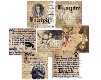Instant Download  - 1 Inch Squares  - Vampire Stories-  Printable Digital Collage Sheet - Digital Download scrabble tiles