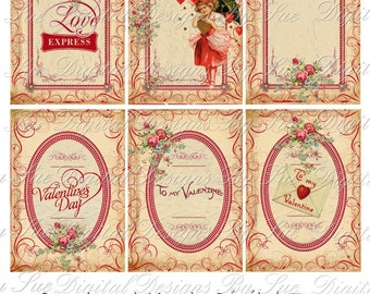 Instant Download  2.5 x 3.5 - ACEO -  Valentines Day No. 5TV-  Printable Digital Collage Sheet - Digital Download