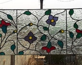 "Stained glass Transom window - ""The Dance of the Hummingbirds II"" (TW-37)"