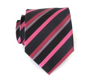 Mens Tie Black Pink Fuchsia Stripes Silk Necktie