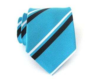 Mens Ties. Necktie Turquoise Black and White Stripes Silk Tie