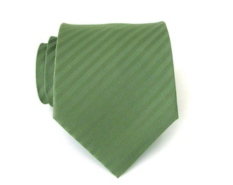 Mens Ties Necktie Olive Green Tonal Stripes Mens Tie