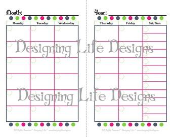 Mini Binder Calendar - Two Page Fill-In Design - Half Sheet Size