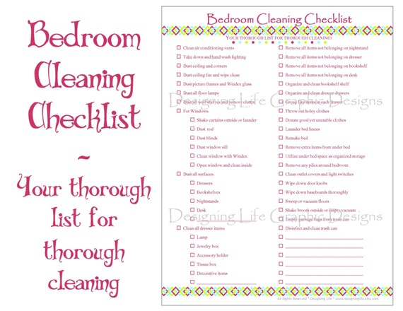 Bedroom Cleaning Checklist PDF Printable By DesigningLife