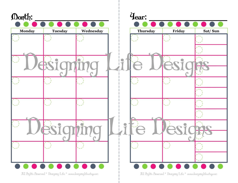 Calendar Half Sheet : Mini binder calendar two page fill in design half sheet