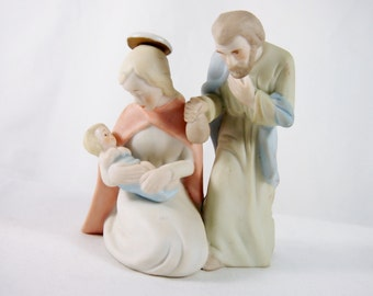 Lefton Bisque Porcelain Holy Family Christopher Collection 50s 60s Vintage Figurine