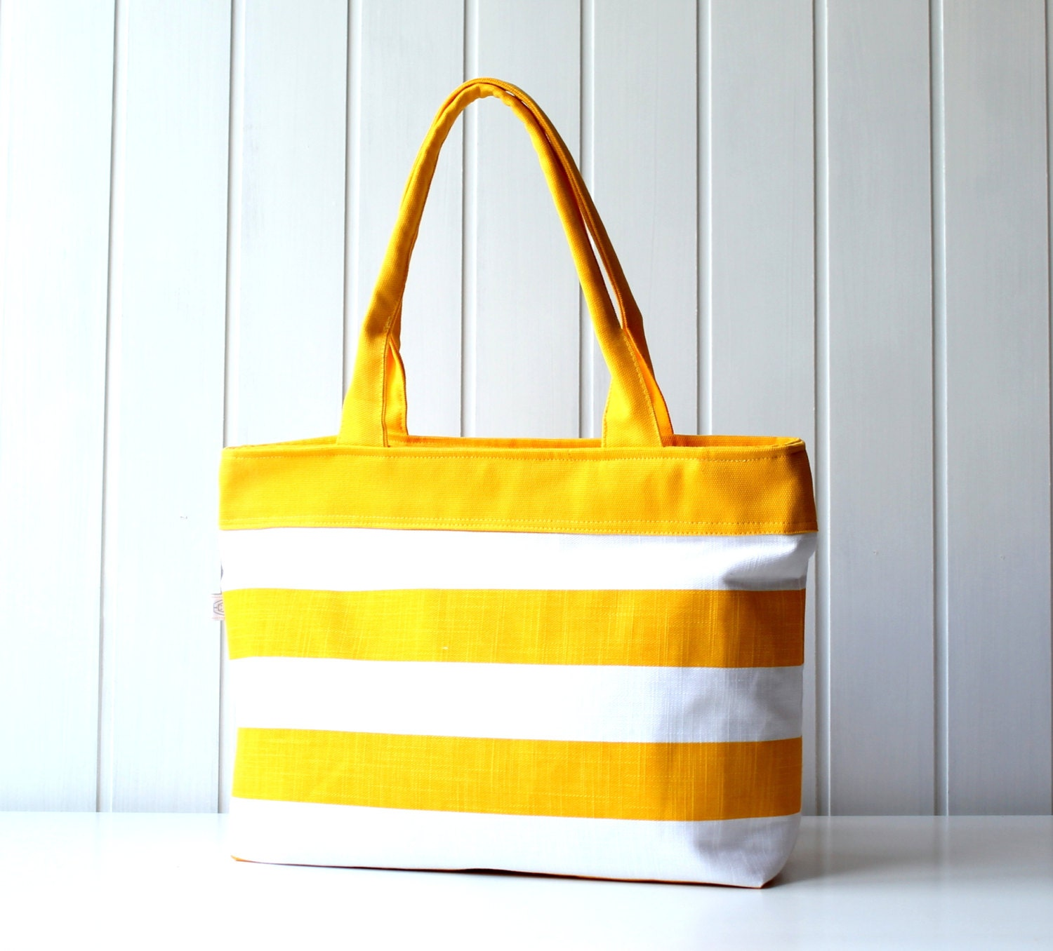 Hey Sailor.. Yellow / White Bold Stripes Tote Bag / Beach Bag