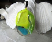 Yellow and Green and Sky Blue Pendant - Fused Dichroic Glass  - Large