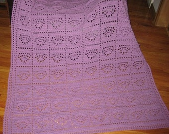 Shells In A Basket Afghan in the color Orchid