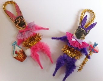 German Shepherd EASTER BUNNY vintage style chenille ORNAMENTS set of 2 feather tree
