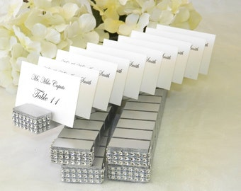 Place card holder + Silver Plank Place Card Holder trimmed with a crystal wrap on the front
